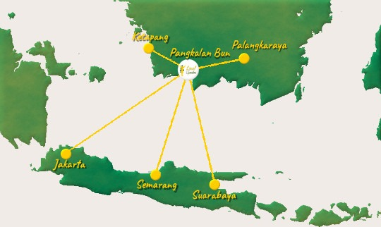 Direct flights to Pangkalan Bun