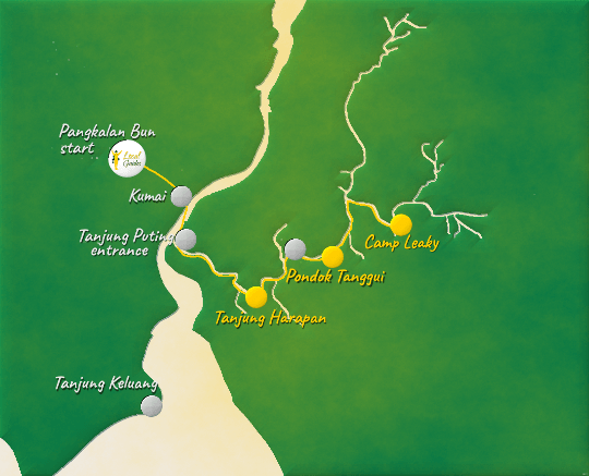 Map of Tanjung Puting National Park by Local Guides